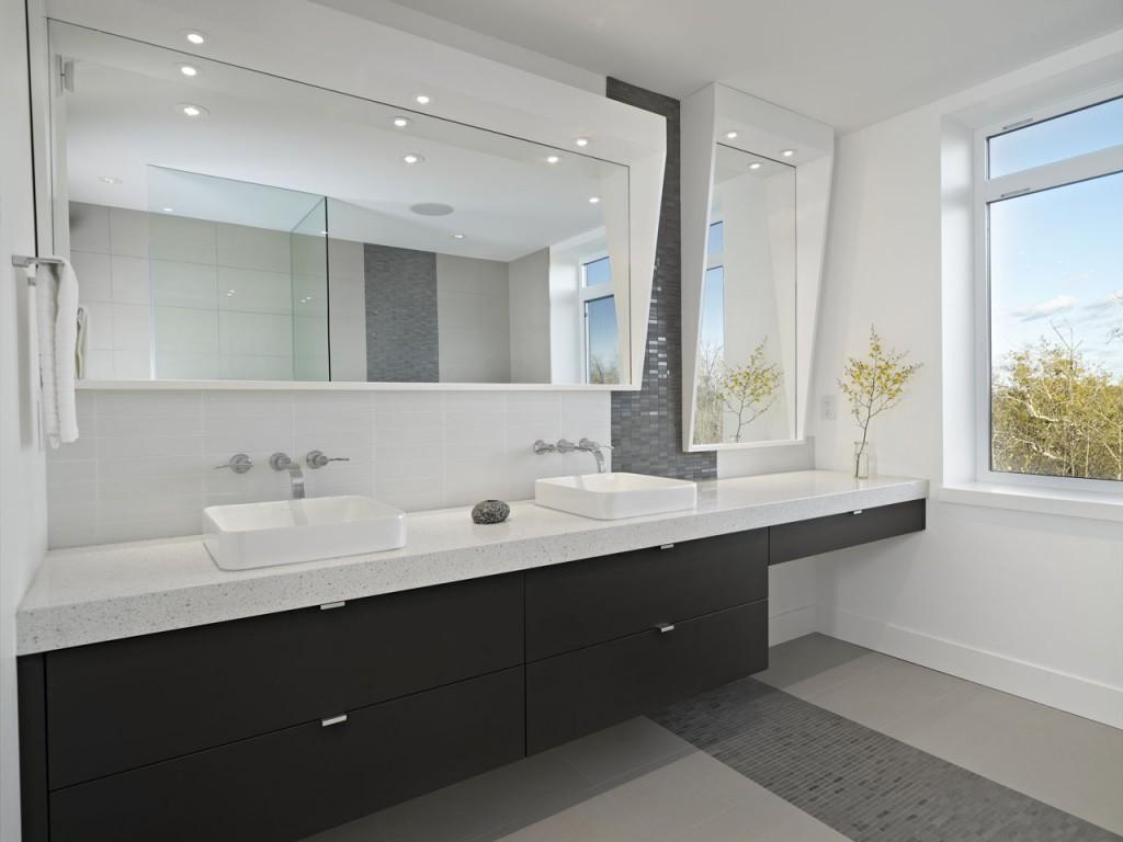 Black Slate Tile Floor In Bathroom With Wood Vanity - Wood Floors