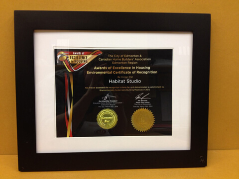Environmental certificate of recognition 2014 CHBA